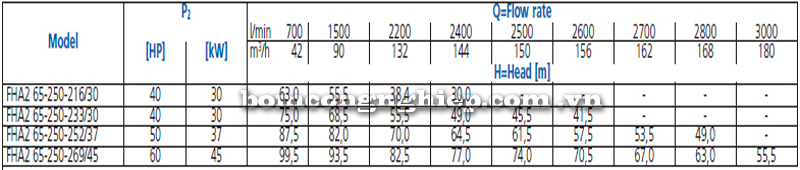 Máy bơm nước Ebara FHA 65-250 bảng thông số kỹ thuật