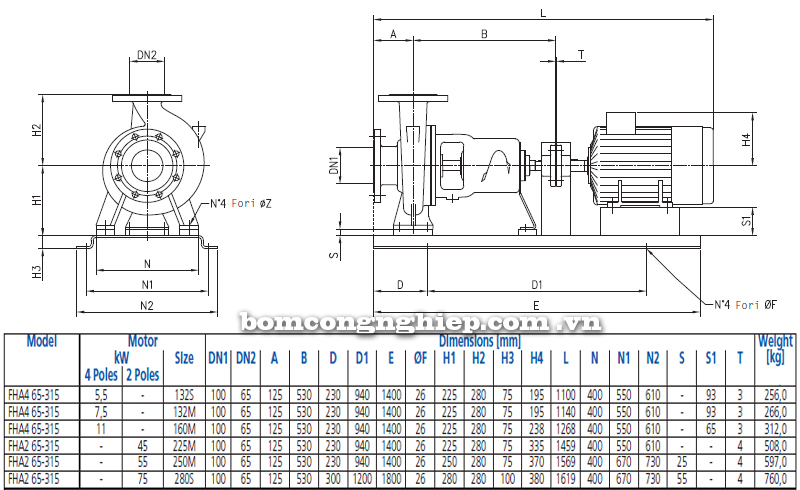 Máy bơm nước Ebara FHA 65-315 bảng thông số kích thước