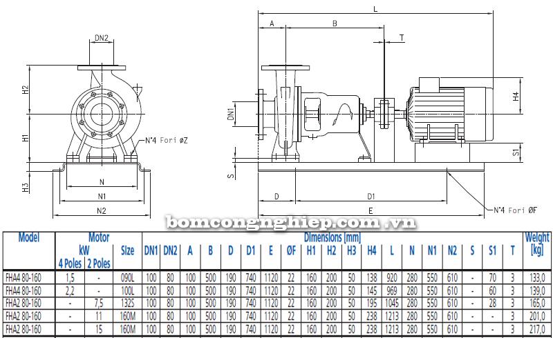 Máy bơm nước Ebara FHA 80-160 bảng thông số kích thước