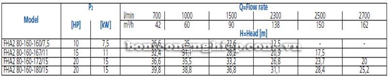 Máy bơm nước Ebara FHA 80-160 bảng thông số kỹ thuật