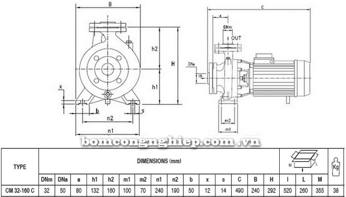 Máy bơm nước Pentax CM 32-160C bảng thông số kích thước
