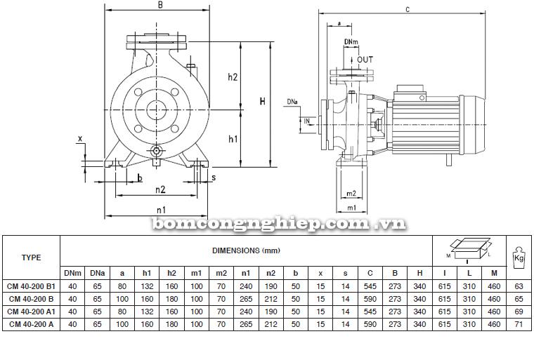 Máy bơm nước Pentax CM 40-200 bảng thông số kích thước