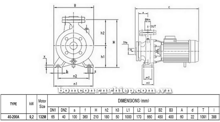 Máy bơm nước Pentax CM 40-200A bảng thông số kích thước