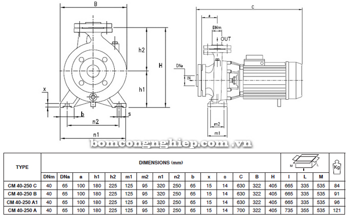 Máy bơm nước Pentax CM 40-250 bảng thông số kích thước