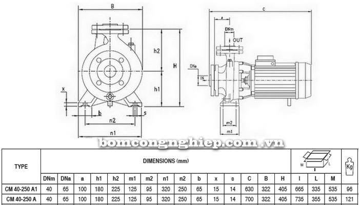 Máy bơm nước Pentax CM 40-250A bảng thông số kích thước