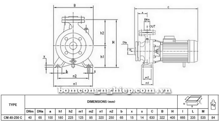 Máy bơm nước Pentax CM 40-250C bảng thông số kích thước