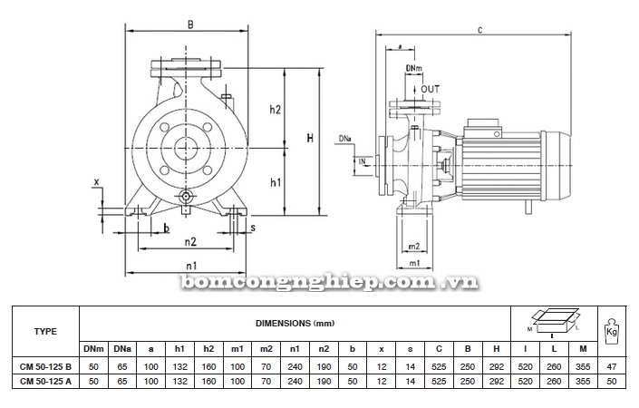 Máy bơm nước Pentax CM 50-125 bảng thông số kích thước