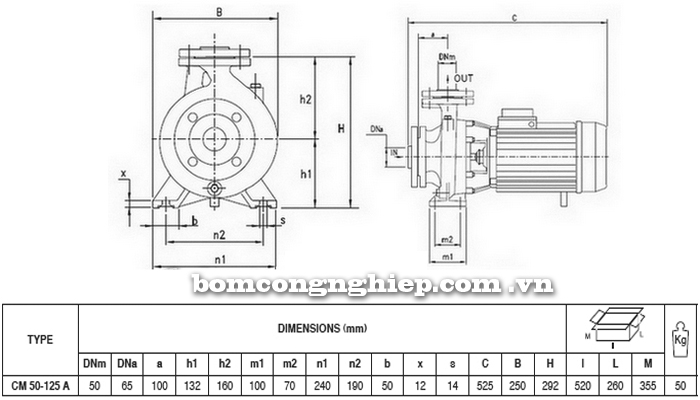 Máy bơm nước Pentax CM 50-125A bảng thông số kích thước