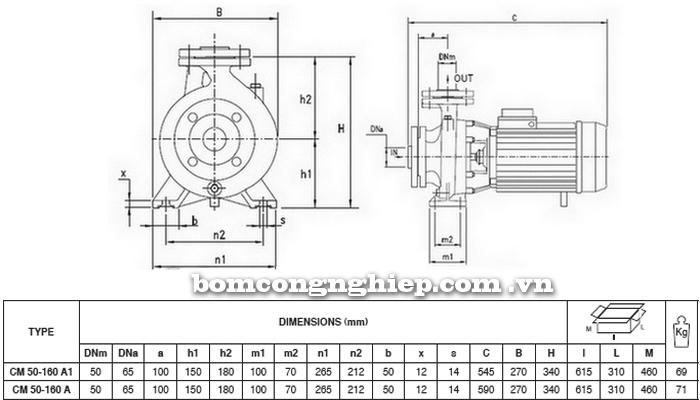 Máy bơm nước Pentax CM 50-160A bảng thông số kích thước