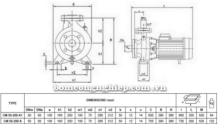 Máy bơm nước Pentax CM 50-200A bảng thông số kích thước