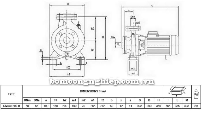Máy bơm nước Pentax CM 50-200B bảng thông số kích thước