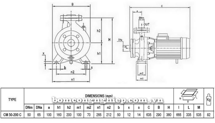 Máy bơm nước Pentax CM 50-200C bảng thông số kích thước