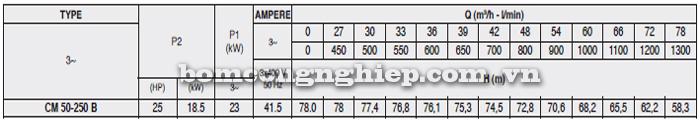 Máy bơm nước Pentax CM 50-250B bảng thông số kỹ thuật
