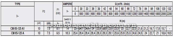 Máy bơm nước Pentax CM 65-125A bảng thông số kỹ thuật