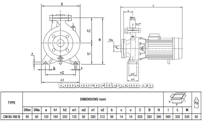 Máy bơm nước Pentax CM 65-160B bảng thông số kích thước
