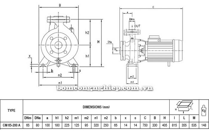 Máy bơm nước Pentax CM 65-200A bảng thông số kích thước
