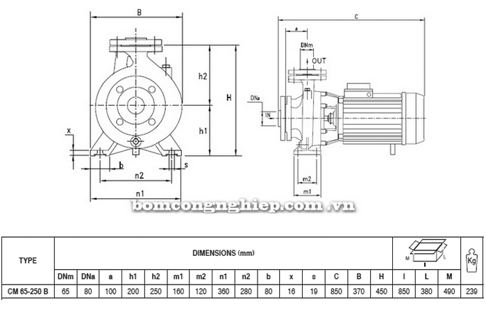 Máy bơm nước Pentax CM 65-250B bảng thông số kích thước