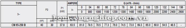 Máy bơm nước Pentax CM 65-250B bảng thông số kỹ thuật