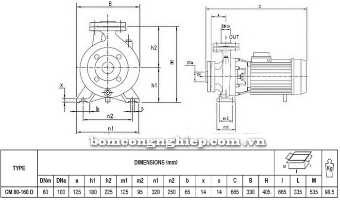 Máy bơm nước Pentax CM 80-160D bảng thông số kích thước