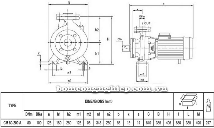 Máy bơm nước Pentax CM 80-200A bảng thông số kích thước