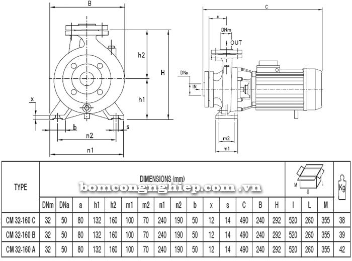 Máy bơm Pentax CM 32-160 bảng thông số kích thước