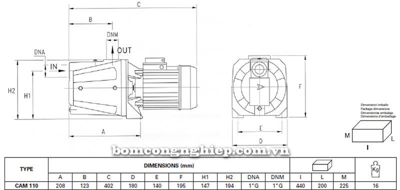 Máy bơm nước bán chân không Pentax CAM 110 bảng thông số kích thước
