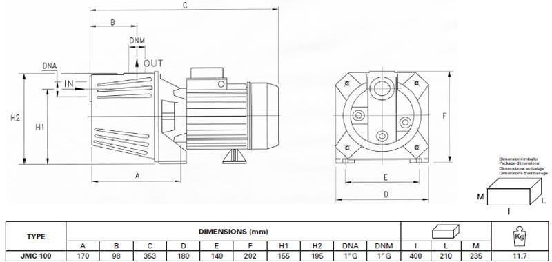 Máy bơm nước bán chân không Pentax JMC-100 bảng thông số kích thước