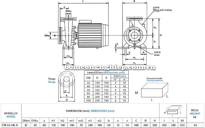 Máy bơm nước công nghiệp Matra CM 32-160A bảng thông số kích thước