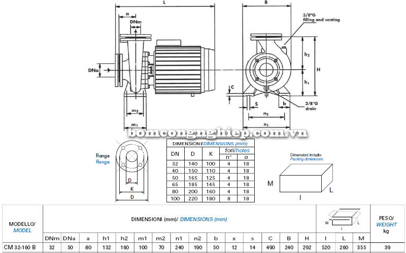 Máy bơm nước công nghiệp Matra CM 32-160B bảng thông số kích thước