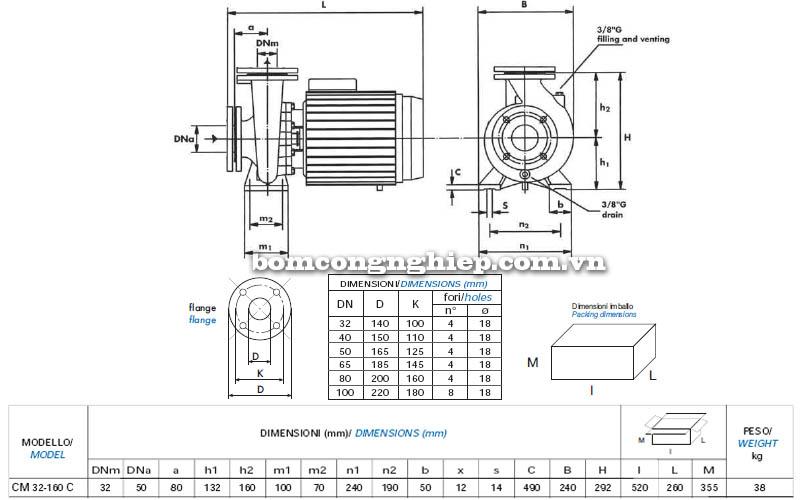 Máy bơm nước công nghiệp Matra CM 32-160C bảng thông số kích thước