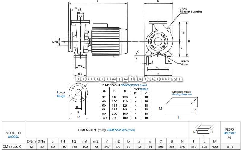 Máy bơm nước công nghiệp Matra CM 32-200C bảng thông số kích thước