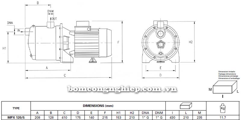 Máy bơm nước đầu INOX Pentax MPX 120/5 bảng thông số kích thước