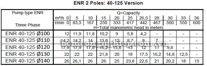 Máy bơm nước Ebara ENR 40-125 bảng thông số kỹ thuật