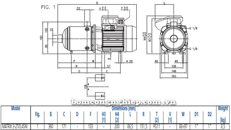 Máy bơm nước Ebara Matrix 3-2T bảng thông số kích thước