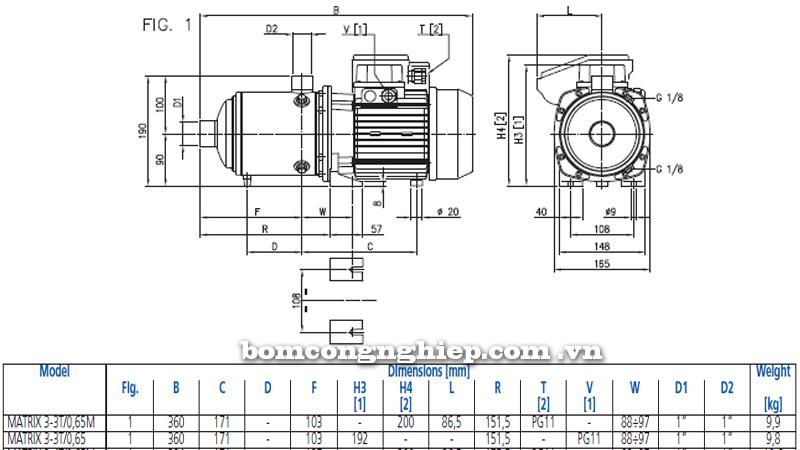 Máy bơm nước Ebara Matrix 3-3T bảng thông số kích thước