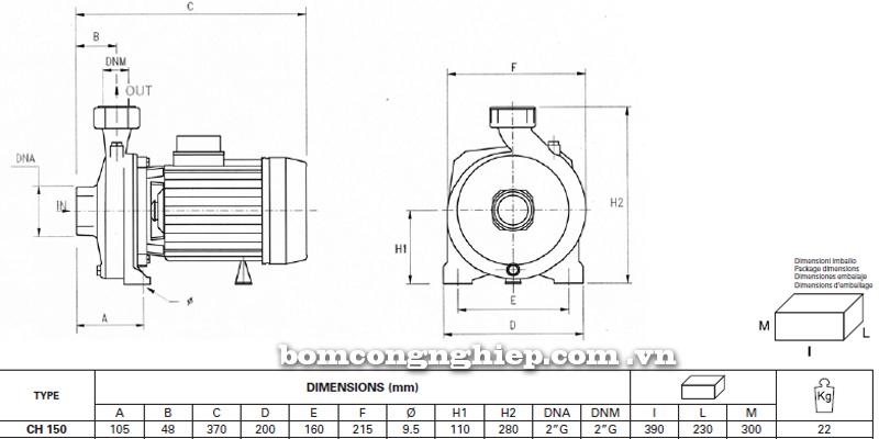 Máy bơm nước Ly tâm Pentax CH-150 bảng thông số kích thước