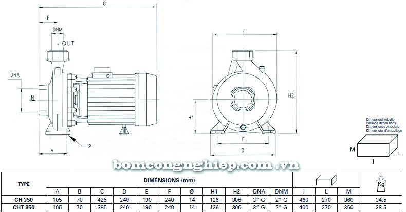 Máy bơm nước Ly tâm Pentax CH-350 bảng thông số kích thước