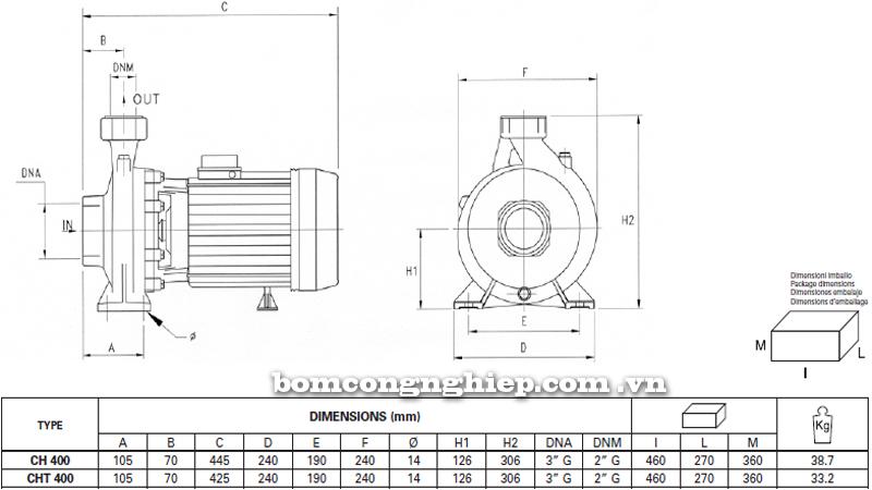 Máy bơm nước Ly tâm Pentax CH-400 bảng thông số kích thước