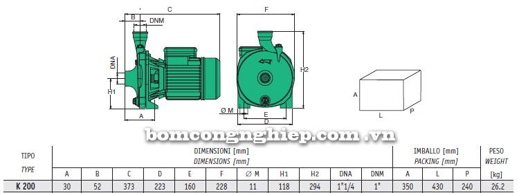 Máy bơm nước ly tâm Sealand K200 bảng thông số kích thước
