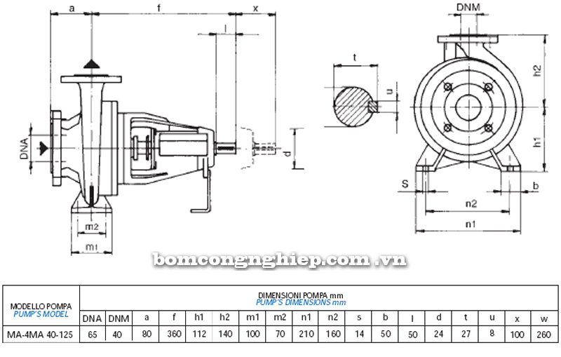 Máy bơm nước Matra MA 40-125 bảng thông số kích thước