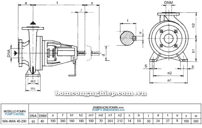 Máy bơm nước Matra MA 40-200 bảng thông số kích thước