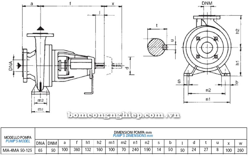 Máy bơm nước Matra MA 50-125 bảng thông số kích thước