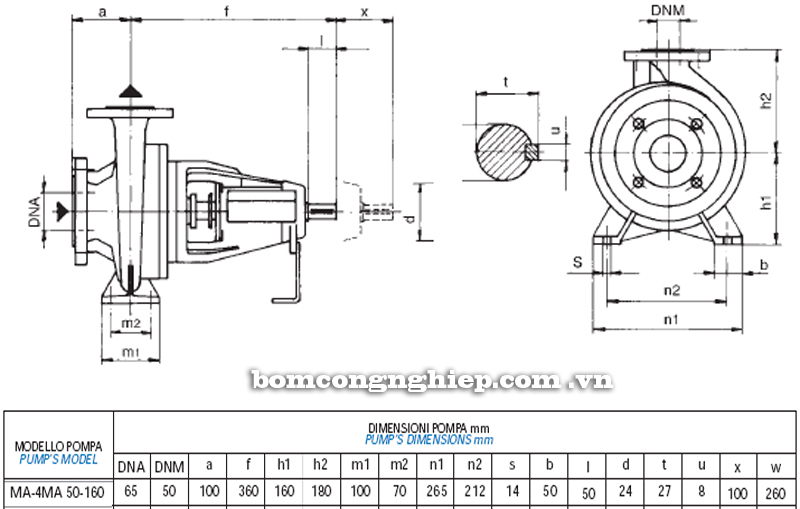 Máy bơm nước Matra MA 50-160 bảng thông số kích thước