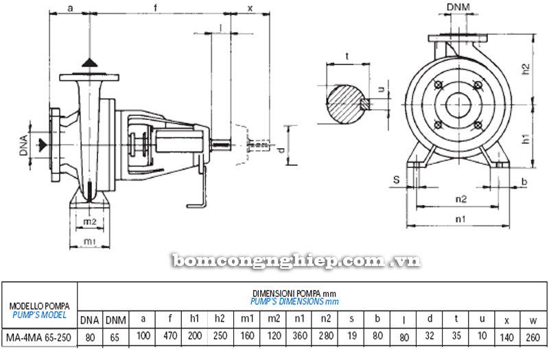 Máy bơm nước Matra MA 65-250 bảng thông số kích thước