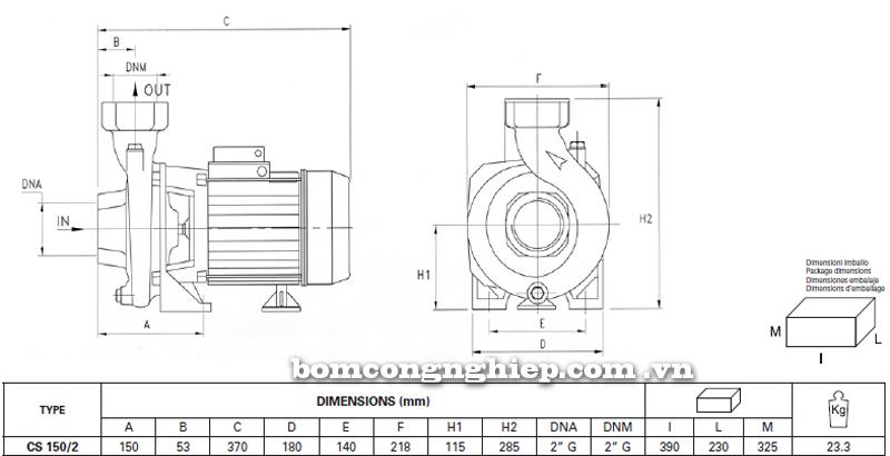 Máy bơm nước Pentax CS 150/2 bảng thông số kích thước
