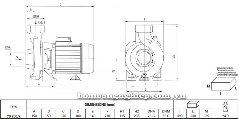Máy bơm nước Pentax CS 200/2 bảng thông số kích thước