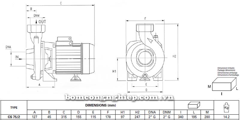Máy bơm nước Pentax CS 75/2 bảng thông số kích thước