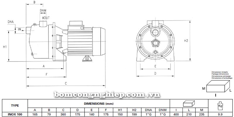 Máy bơm nước Pentax INOX 100 bảng thông số kích thước