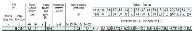 Máy bơm nước Sealand JB 300 bảng thông số kỹ thuật