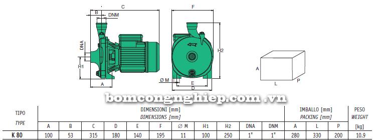Máy bơm nước Sealand K80 bảng thông số kích thước